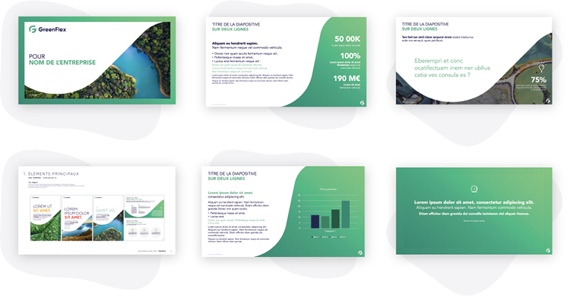 template powerpoinr slides types charte graphique greenflex mprez